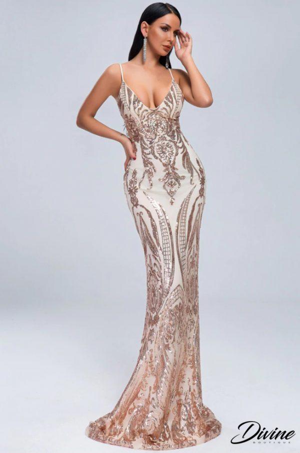 rochie eleganta aurie